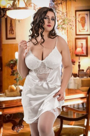 042 'Frida' White Satin Chemise with Cute Pockets S-6XL